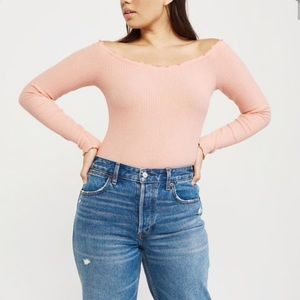 Abercrombie & Fitch Peach Off Shoulder Ribbed Top
